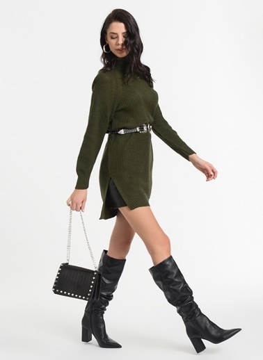 Styletag Triko Elbise Haki